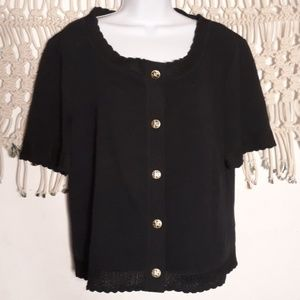 St.John Collection black scalloped knit cardigan